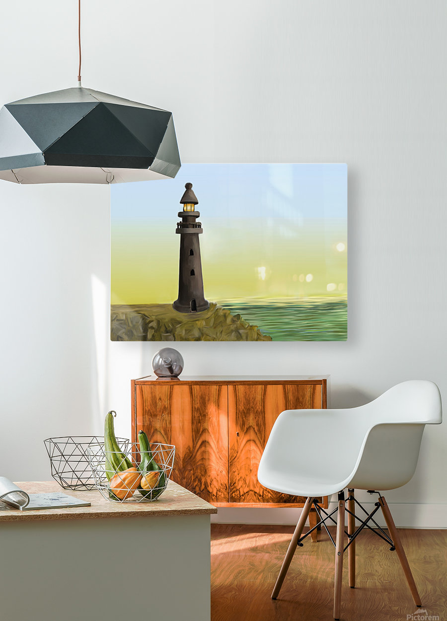 Sunset with Lighthouse  HD Metal print with Floating Frame on Back