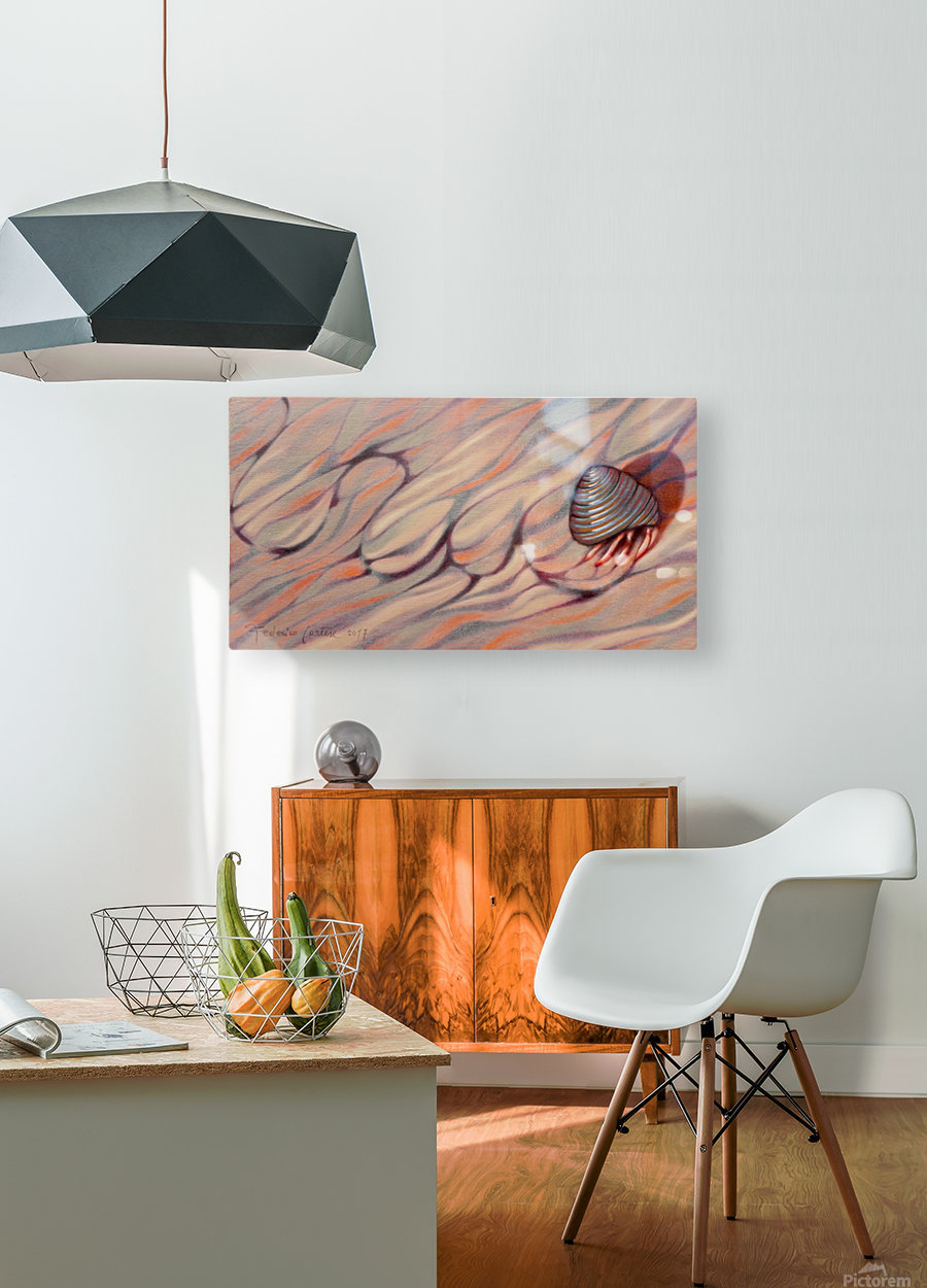 hermit crab on his way back home  HD Metal print with Floating Frame on Back