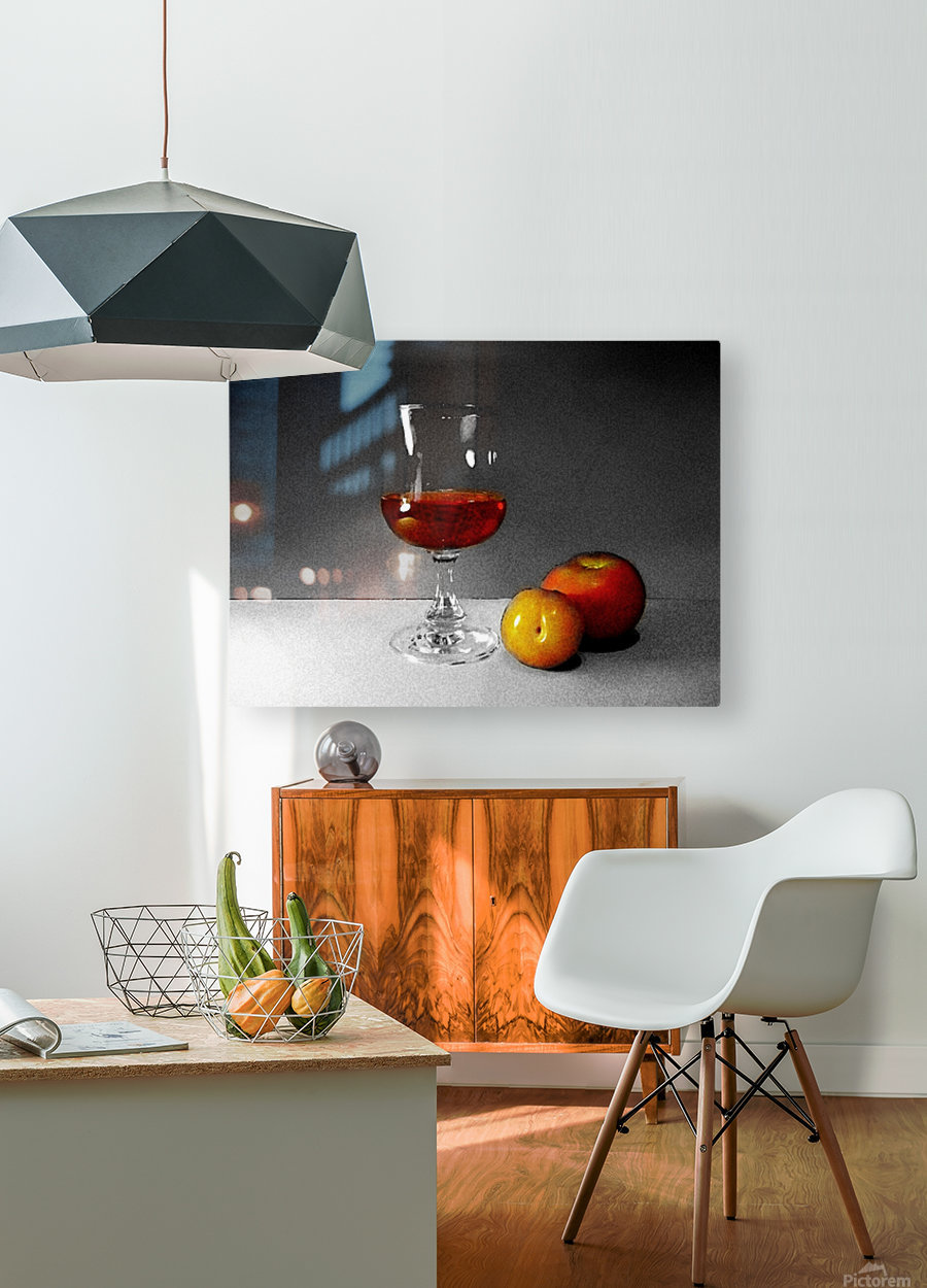 Wine and Fruits  HD Metal print with Floating Frame on Back