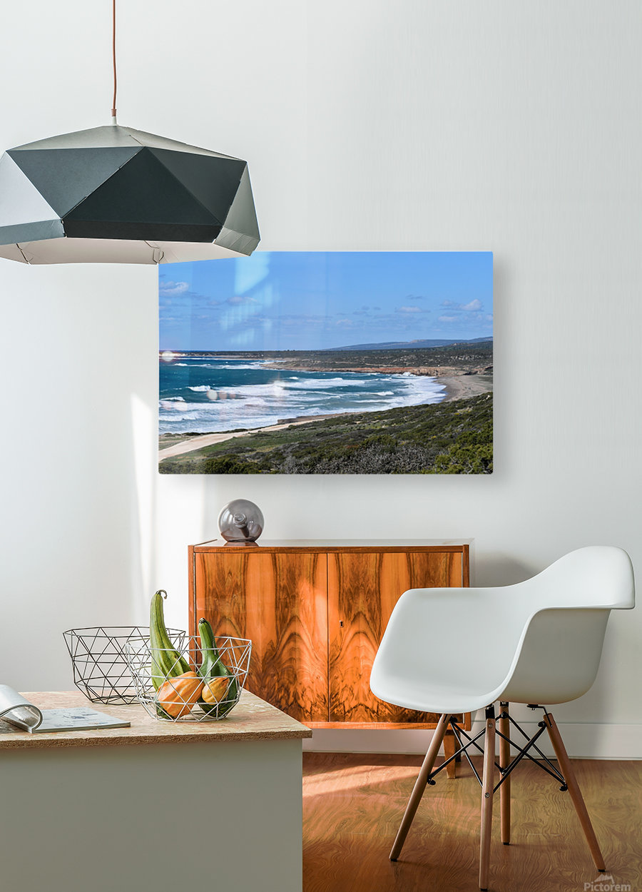 Seashore with waves and blue sky - Cyprus  HD Metal print with Floating Frame on Back