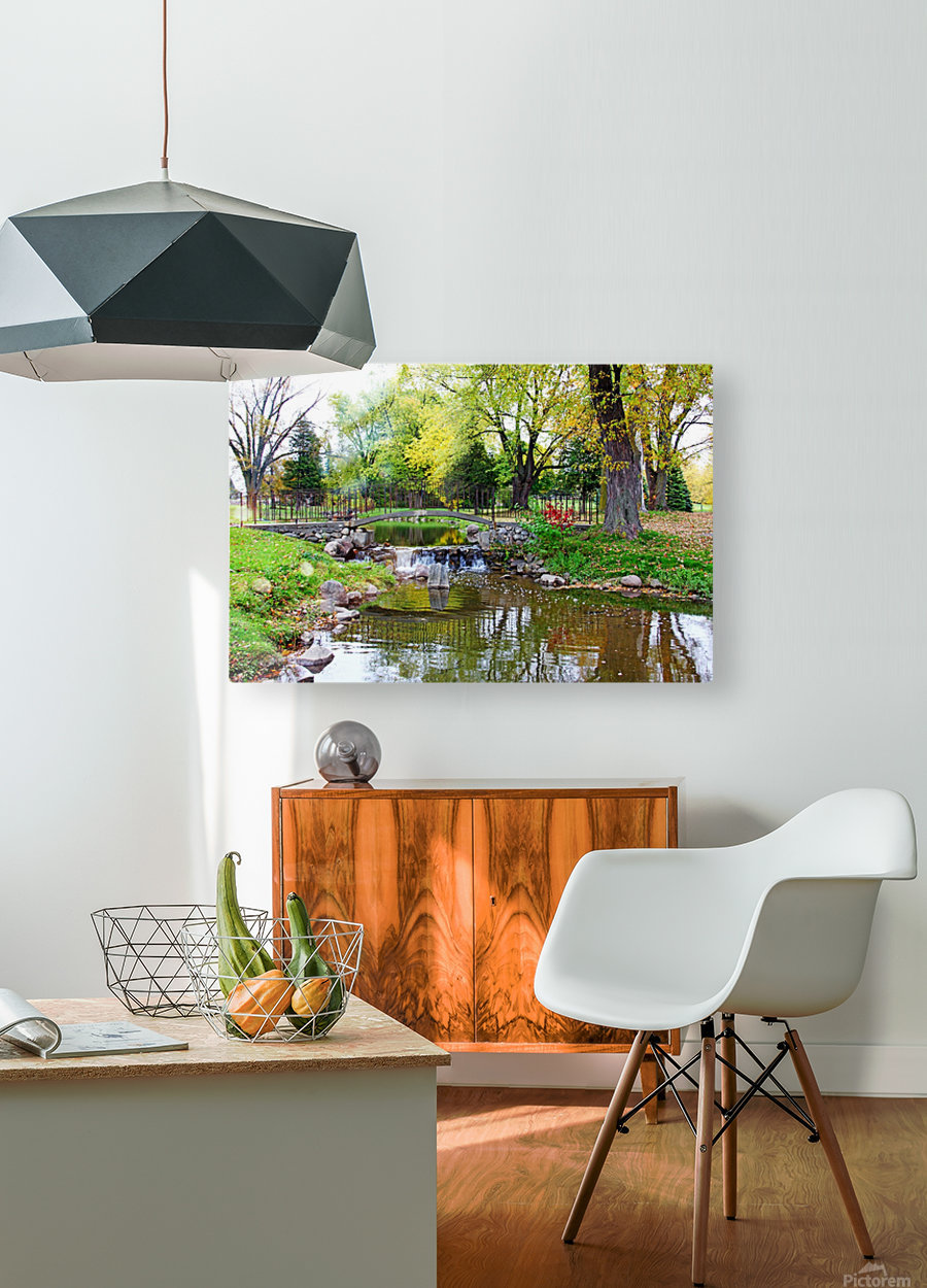 Old Iron And Stone Bridge Over Creek  HD Metal print with Floating Frame on Back
