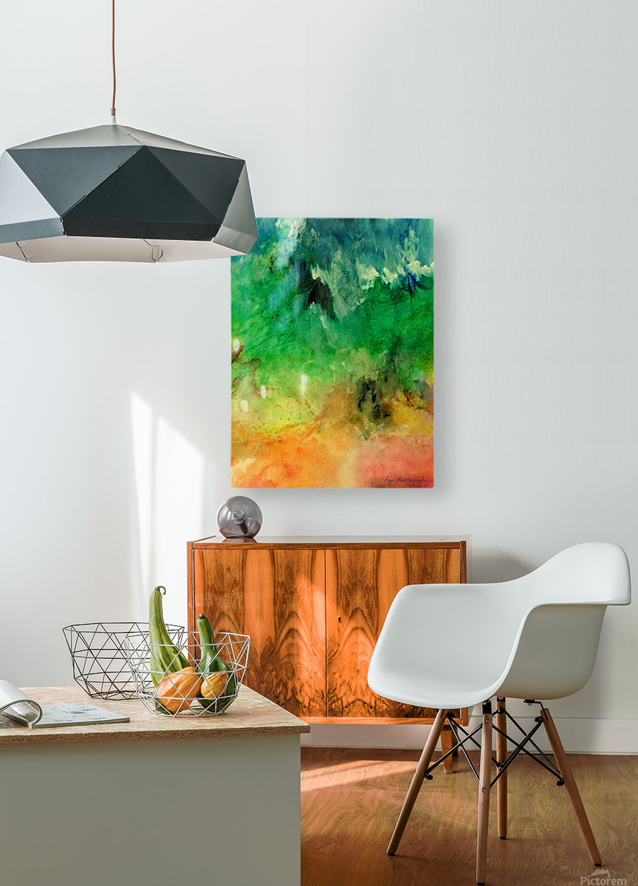 Forest Mountains  HD Metal print with Floating Frame on Back