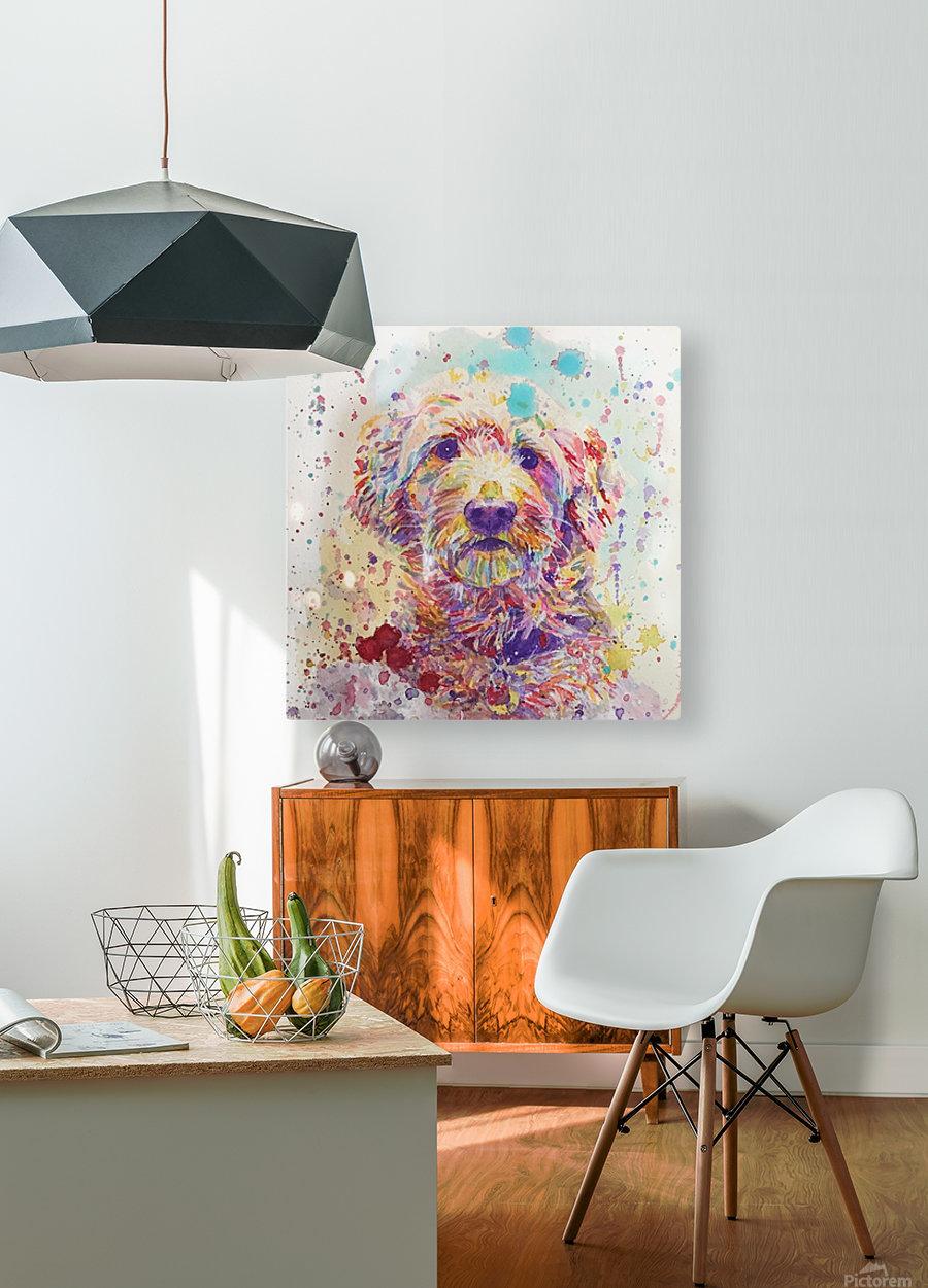 Goldendoodle - Portrait of Link  HD Metal print with Floating Frame on Back