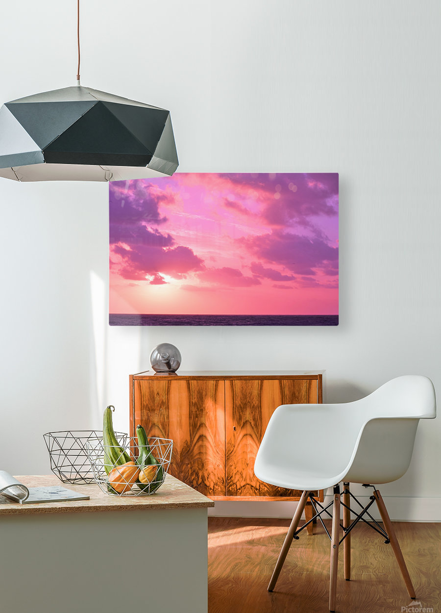 Sunset over the Sea - Shades of Pink  HD Metal print with Floating Frame on Back