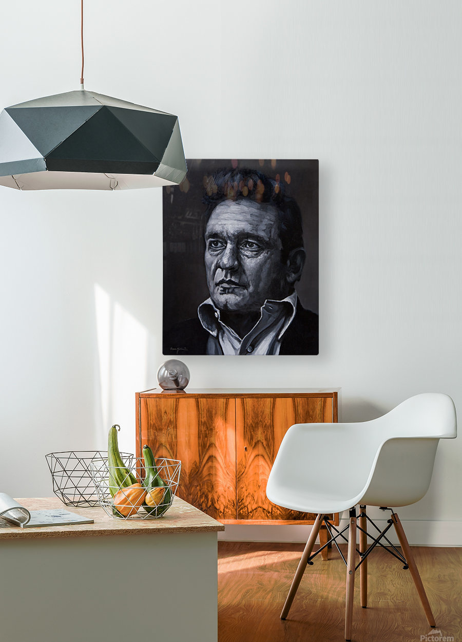johnny cash  HD Metal print with Floating Frame on Back