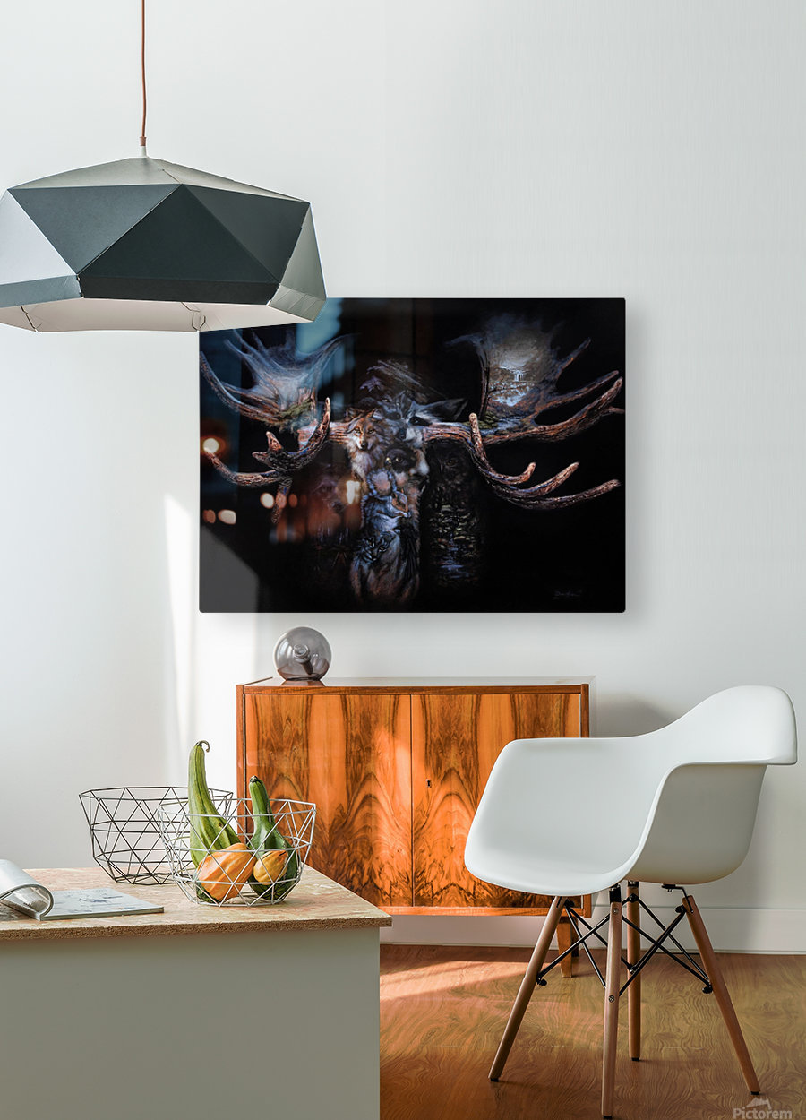 Moose Apparition   HD Metal print with Floating Frame on Back