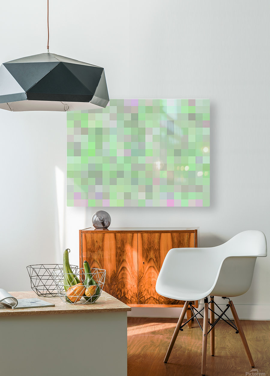 geometric square pixel pattern abstract in green and pink  HD Metal print with Floating Frame on Back