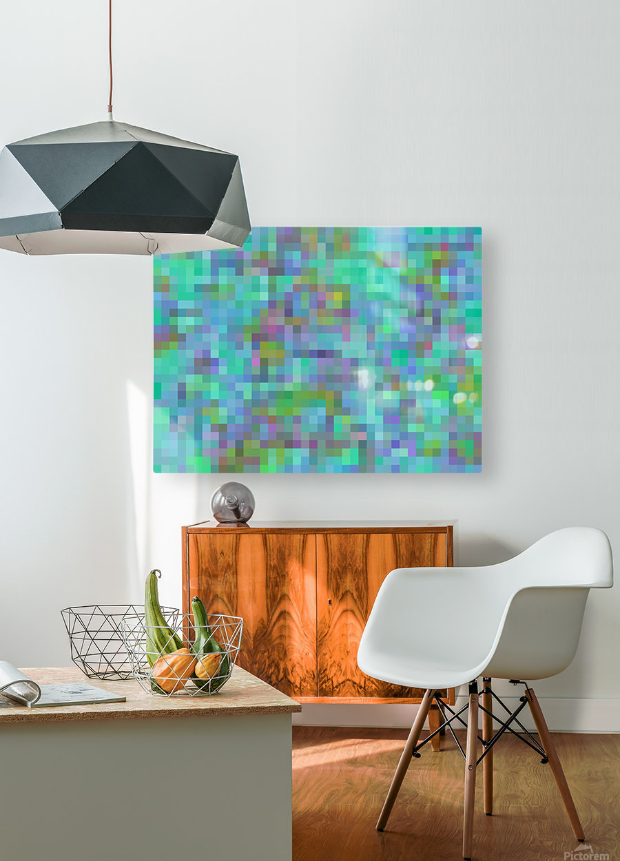 geometric square pixel pattern abstract in green blue pink  HD Metal print with Floating Frame on Back