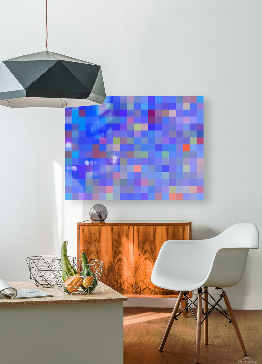 geometric square pixel pattern abstract in blue and pink  HD Metal print with Floating Frame on Back