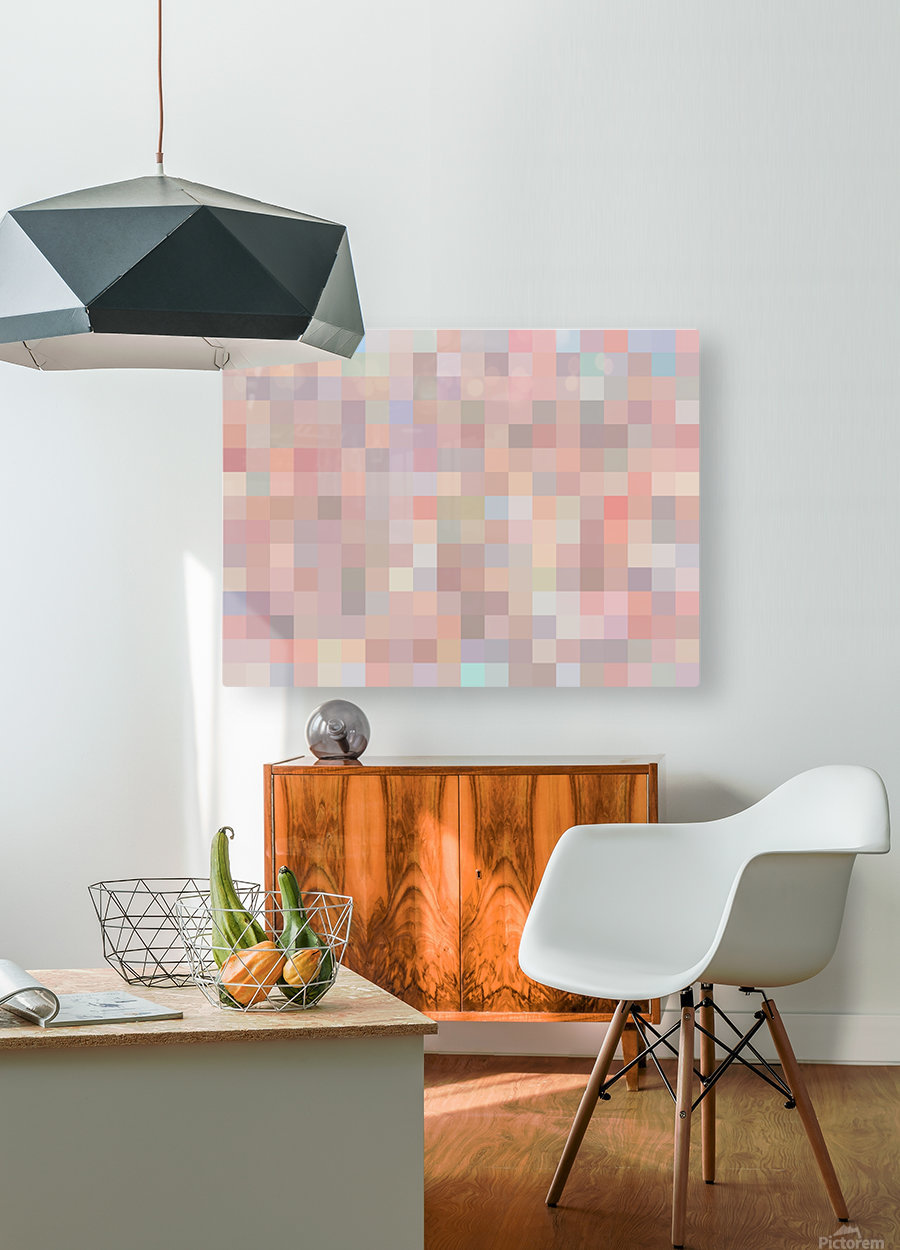 geometric square pixel pattern abstract in pink and blue  HD Metal print with Floating Frame on Back