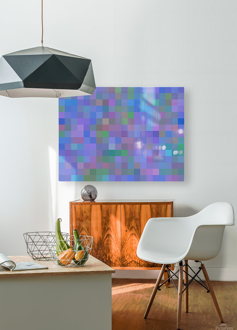 geometric square pixel pattern abstract in purple blue pink  HD Metal print with Floating Frame on Back