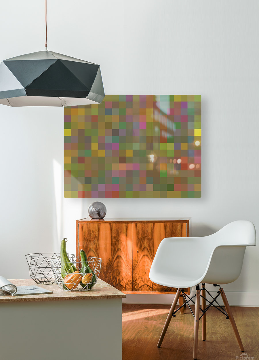 geometric square pixel pattern abstract in green pink yellow  HD Metal print with Floating Frame on Back