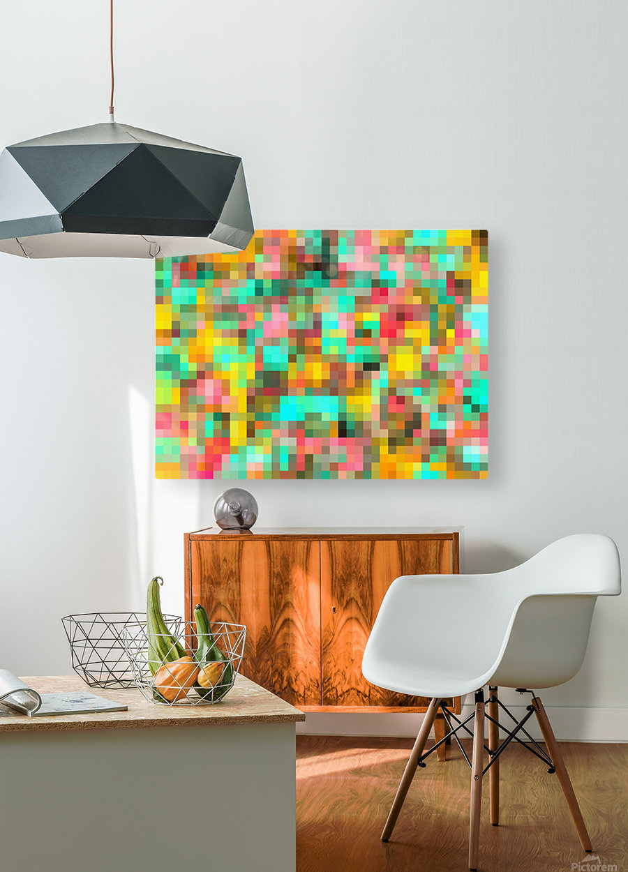 geometric square pixel pattern abstract in green yellow pink  HD Metal print with Floating Frame on Back