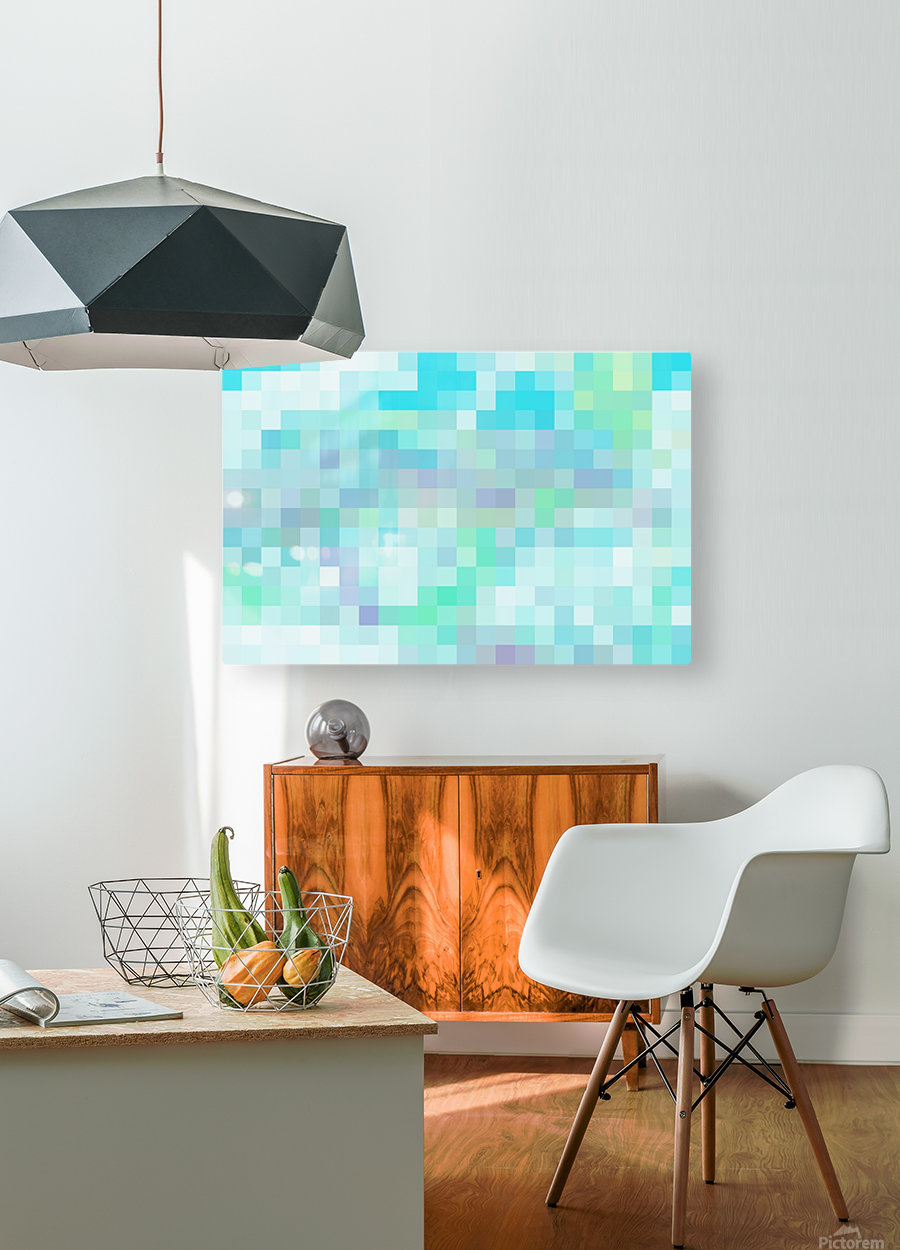 Abstract Pixel Picture -Ocean shades   HD Metal print with Floating Frame on Back
