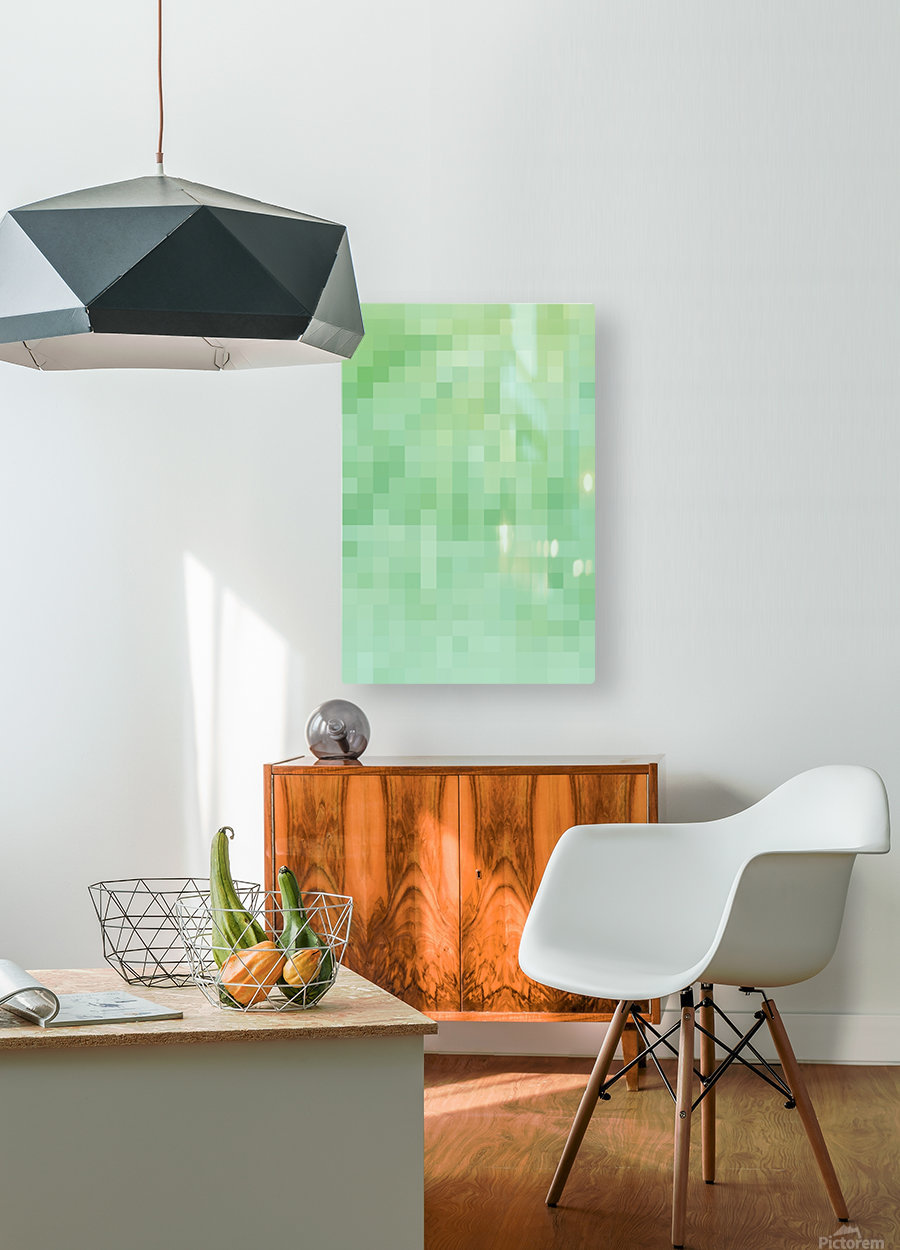 Abstract Pixel Picture - Green shades   HD Metal print with Floating Frame on Back