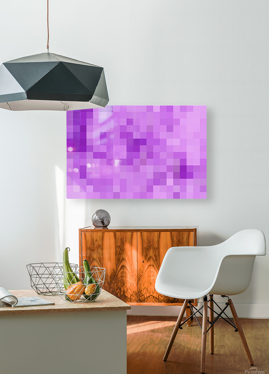 Abstract Pixel Art - Purple Shades  HD Metal print with Floating Frame on Back