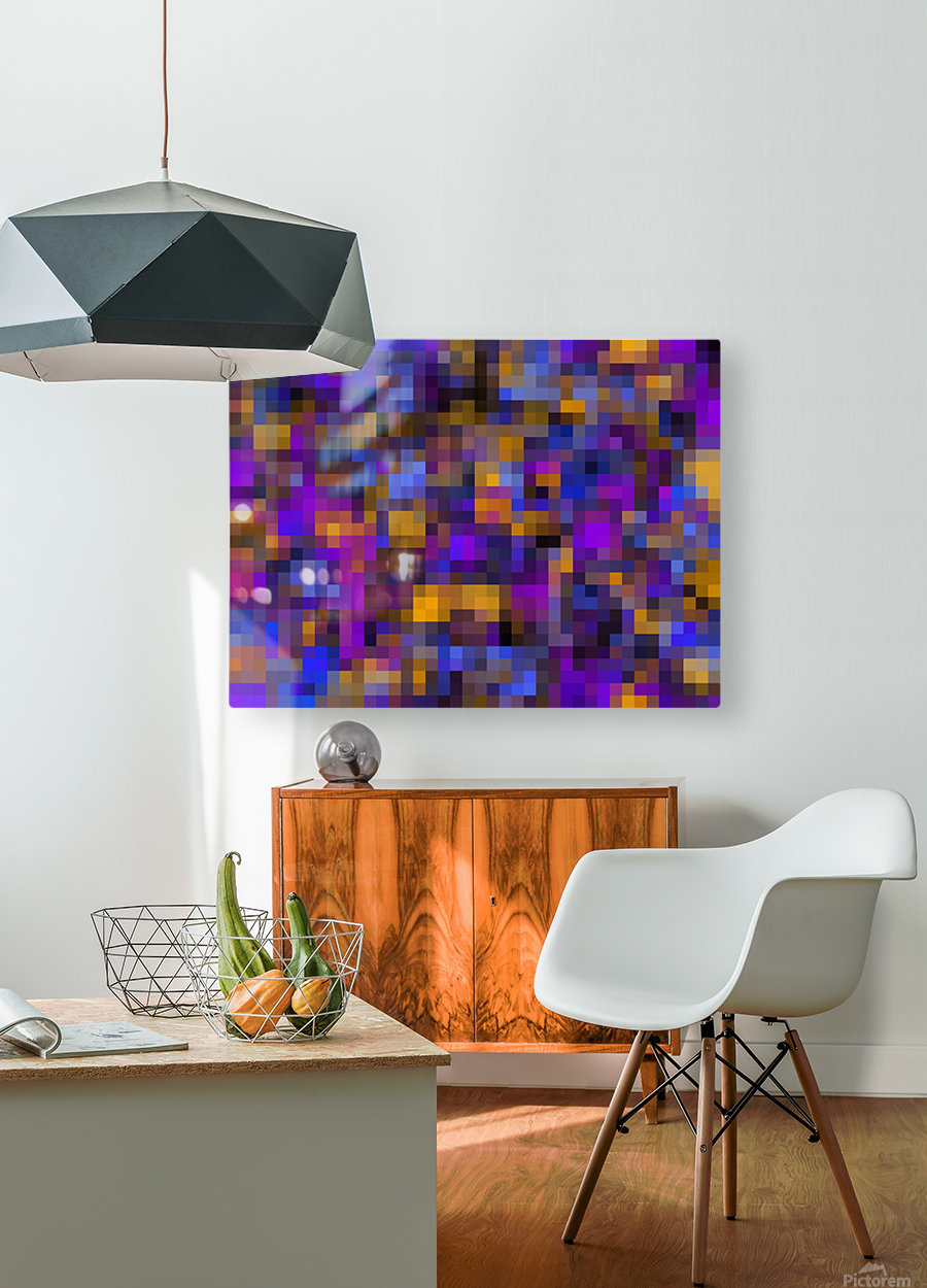 geometric square pixel pattern abstract background in blue purple yellow  HD Metal print with Floating Frame on Back