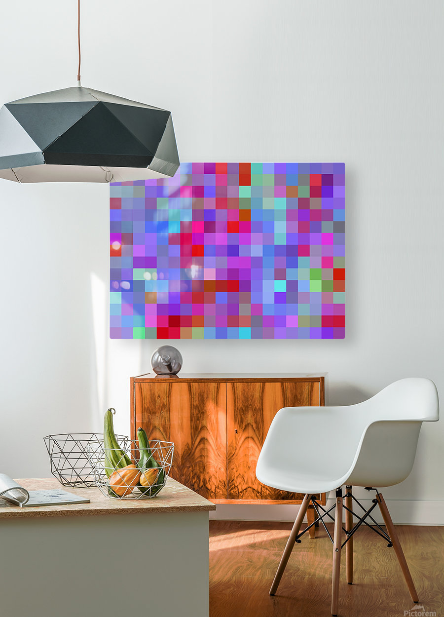 geometric square pixel pattern abstract background in pink blue purple  HD Metal print with Floating Frame on Back