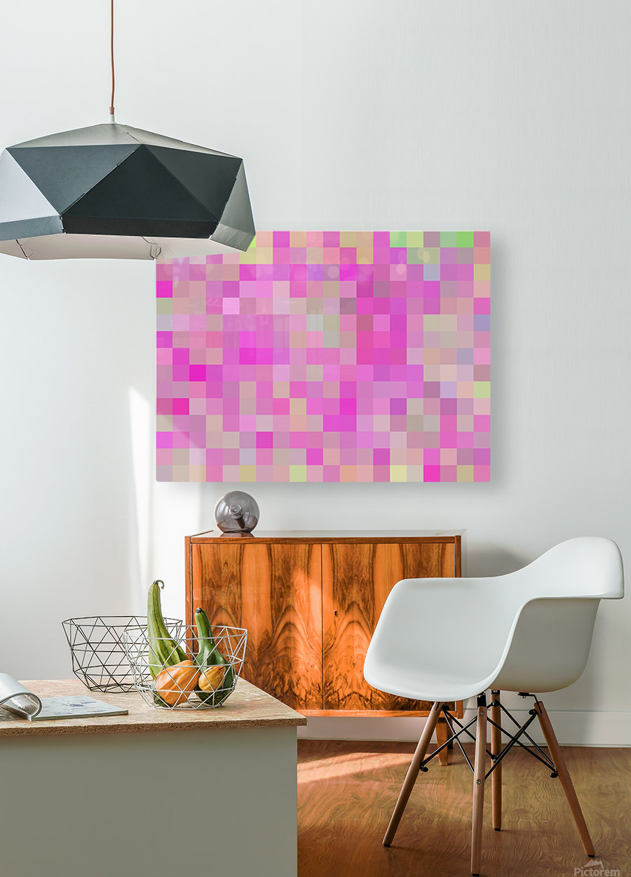 geometric square pixel pattern abstract background in pink blue green  HD Metal print with Floating Frame on Back