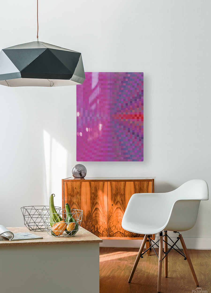 geometric square pixel pattern abstract background in pink and blue  HD Metal print with Floating Frame on Back