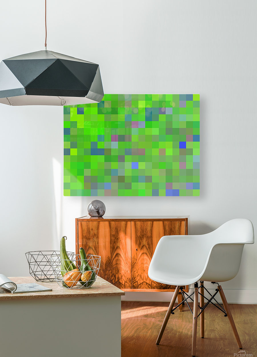geometric square pixel pattern abstract background in green blue pink  HD Metal print with Floating Frame on Back