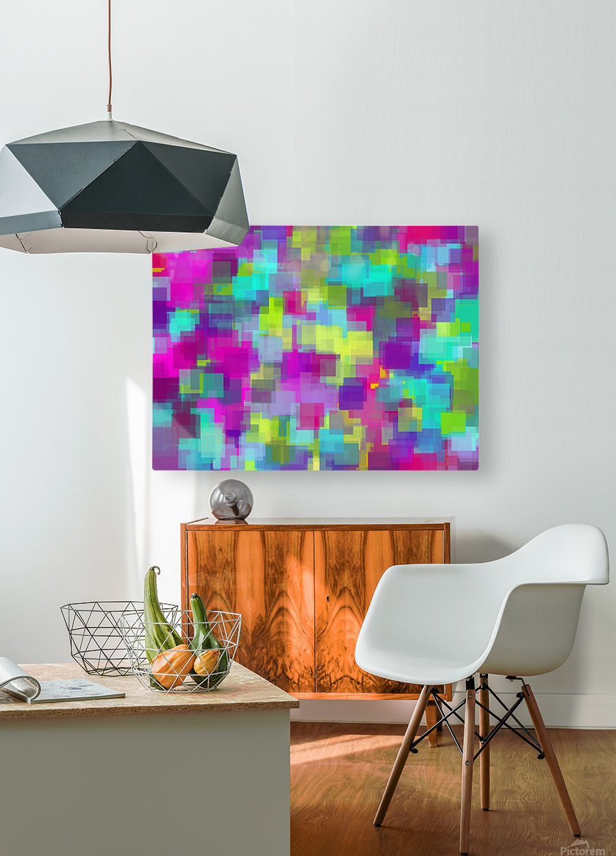 geometric square pattern abstract background in pink yellow blue  HD Metal print with Floating Frame on Back