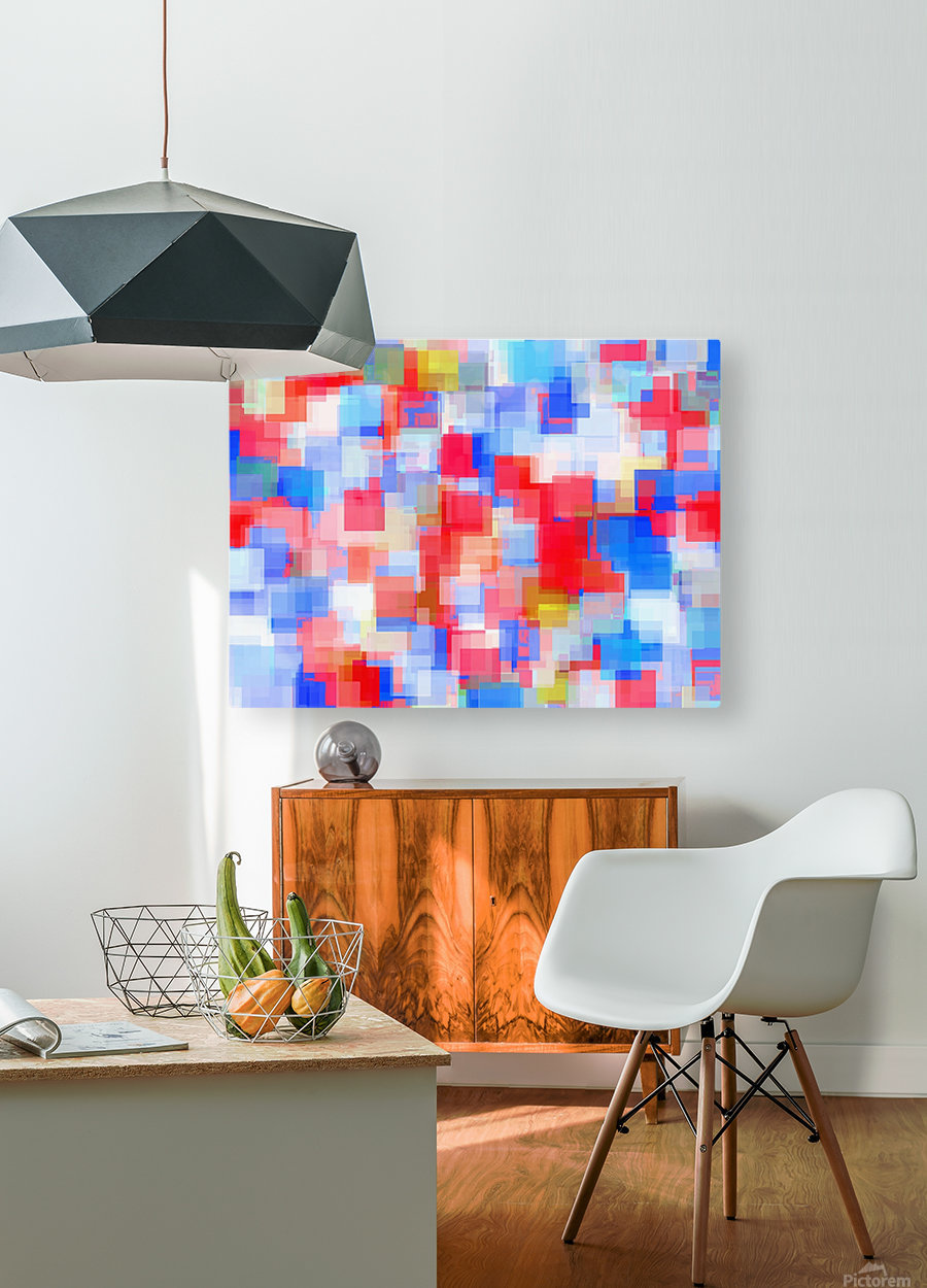 geometric square pattern abstract background in red and blue  HD Metal print with Floating Frame on Back