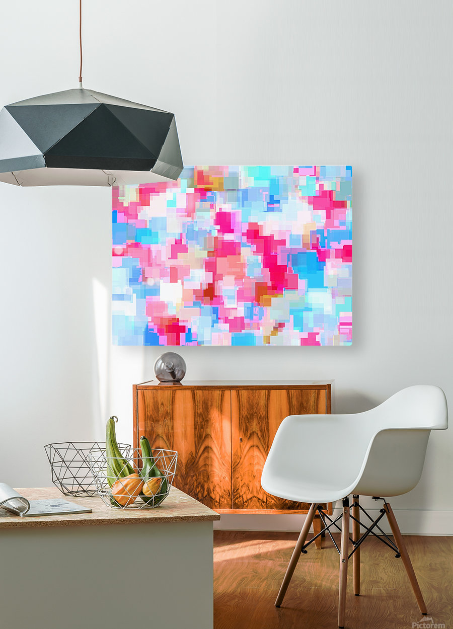 geometric square pattern abstract background in pink and blue  HD Metal print with Floating Frame on Back