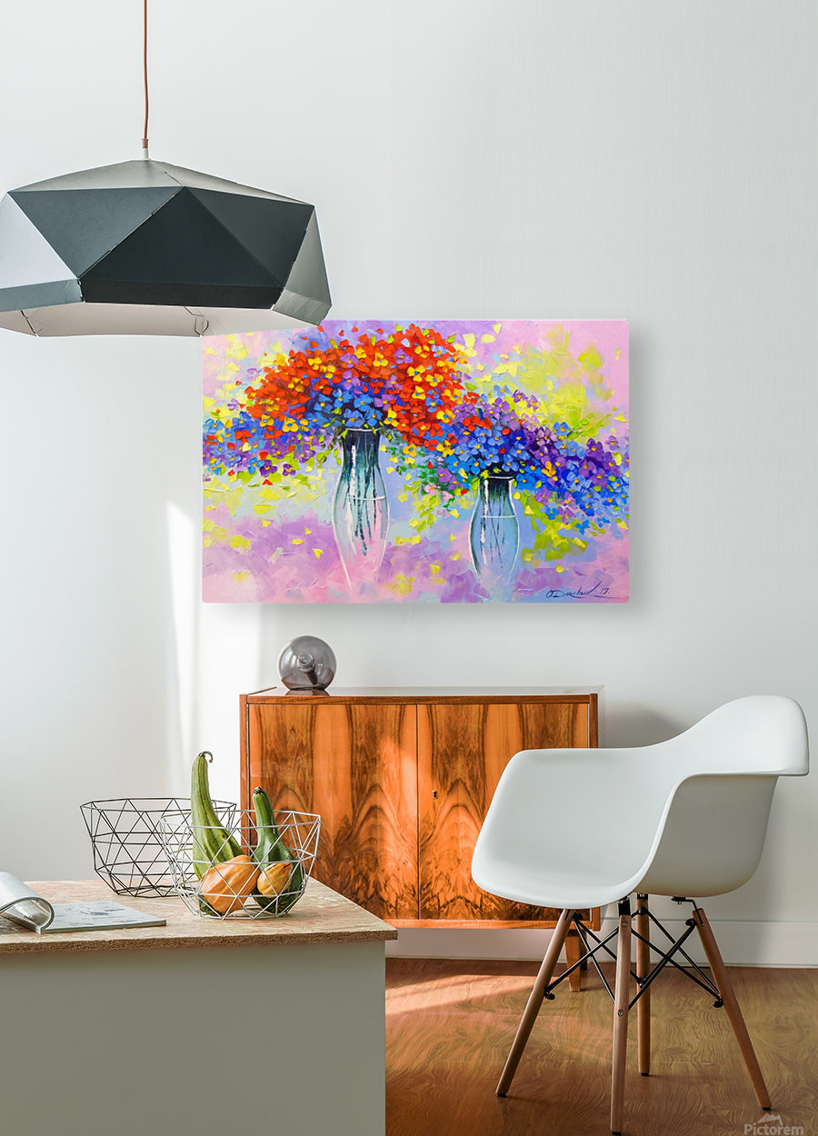 Music of multi-colored flowers  HD Metal print with Floating Frame on Back