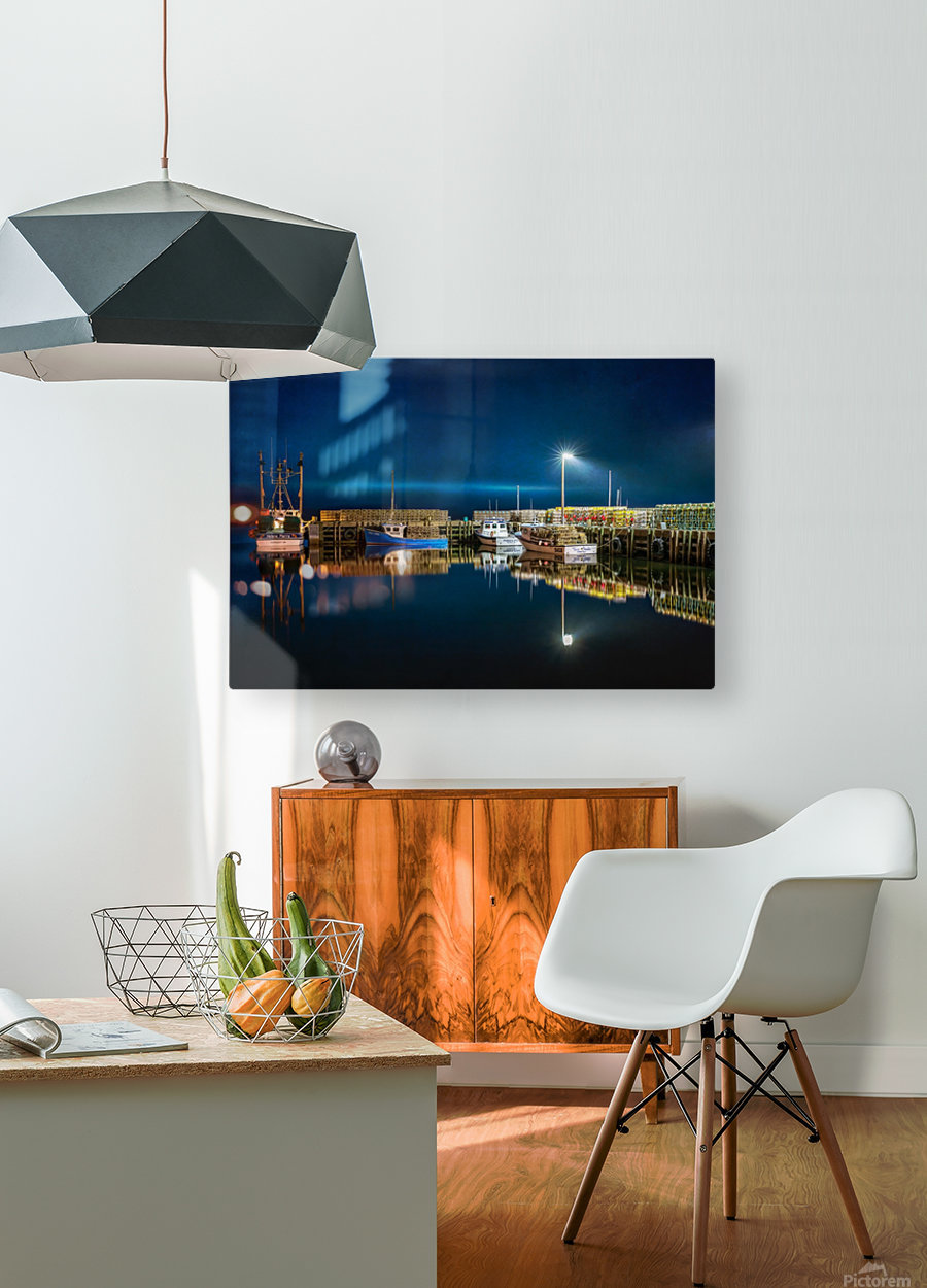 NIGHT TIME AT THE WHARF with textures  HD Metal print with Floating Frame on Back