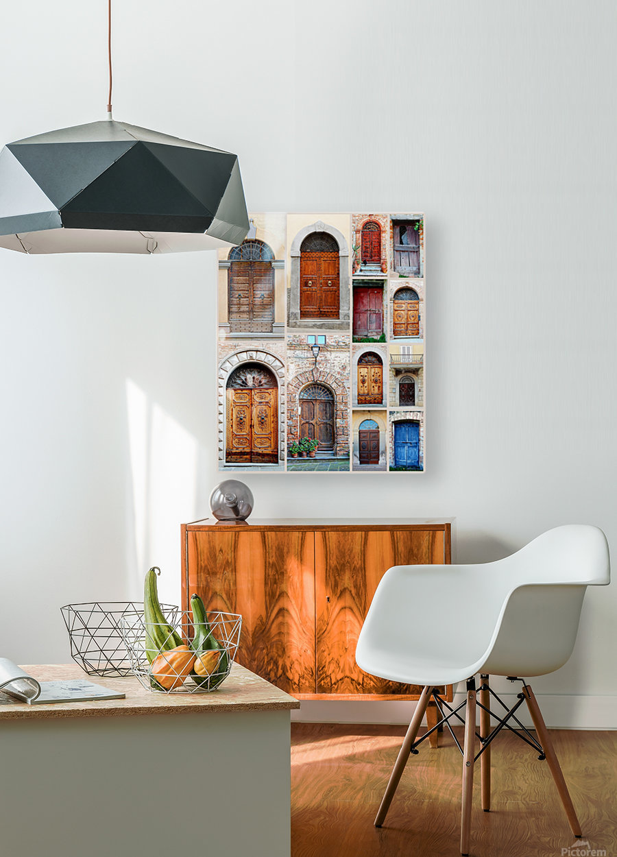 Italian Wooden Doors Collage  HD Metal print with Floating Frame on Back