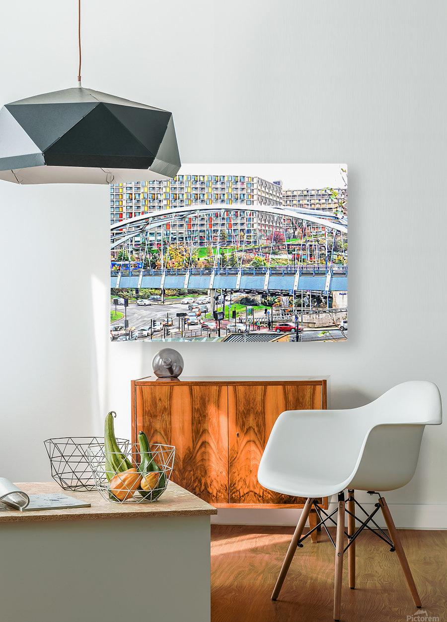 Park Square Bridge Sheffield  HD Metal print with Floating Frame on Back