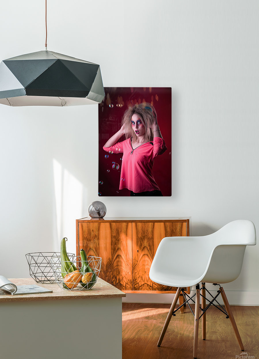Attractive young girl with disheveled hair   HD Metal print with Floating Frame on Back