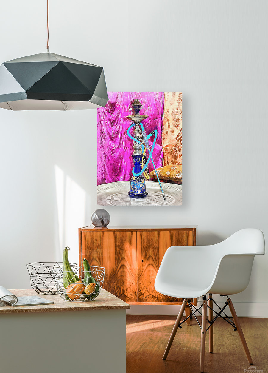 Exotic Oriental Hookah Pipe  HD Metal print with Floating Frame on Back