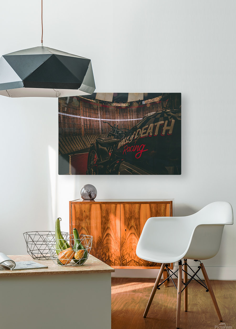 Wall of death Harley Davidson  HD Metal print with Floating Frame on Back