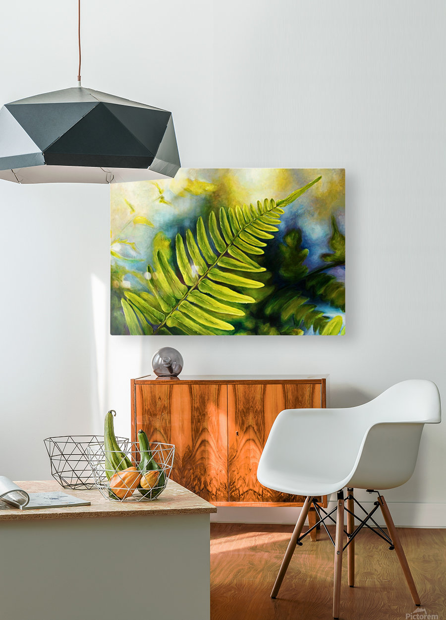 Fern Night  HD Metal print with Floating Frame on Back
