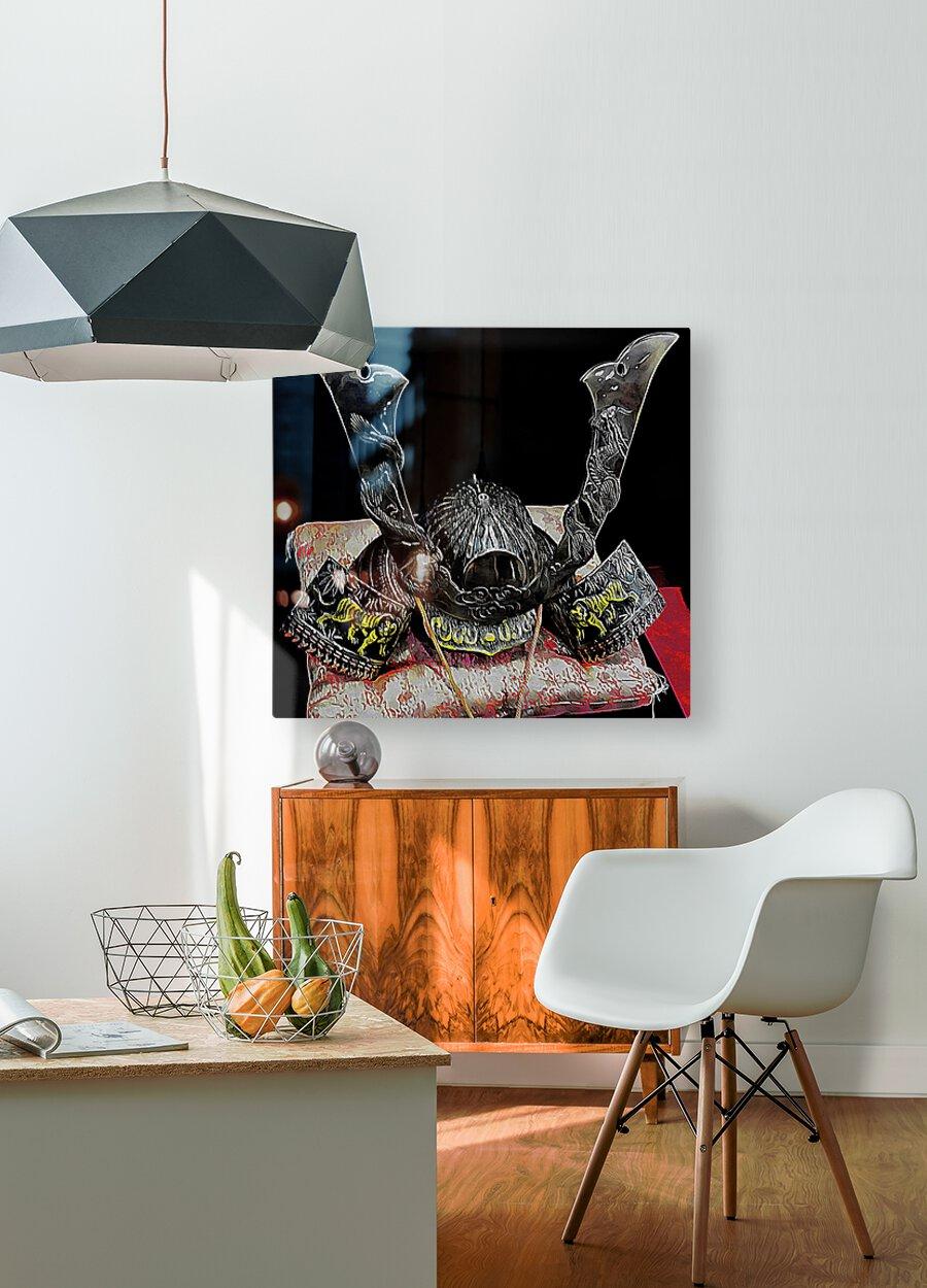 Samurai Helmet   HD Metal print with Floating Frame on Back