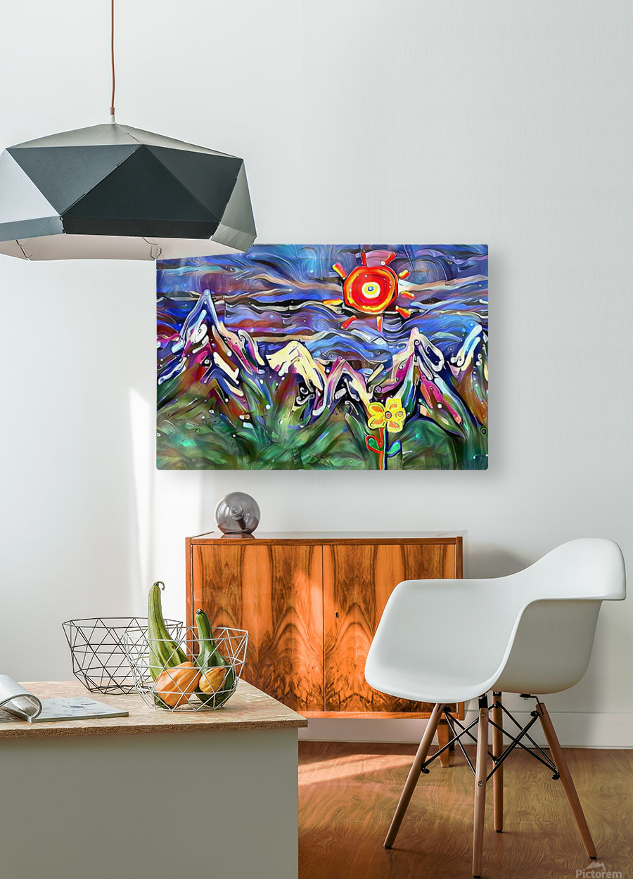 Mountain Landscape with Flowers  HD Metal print with Floating Frame on Back