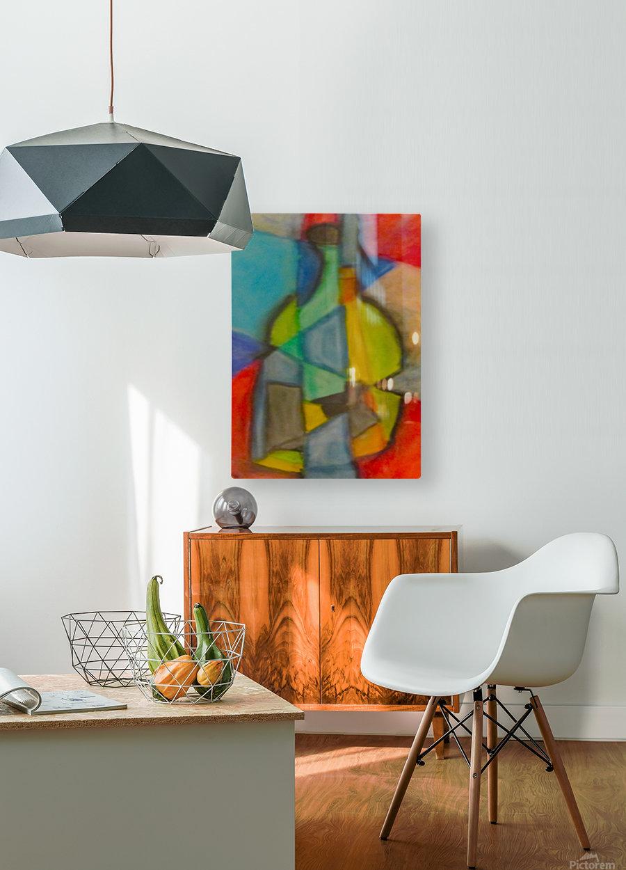 Cubist Bottle  HD Metal print with Floating Frame on Back