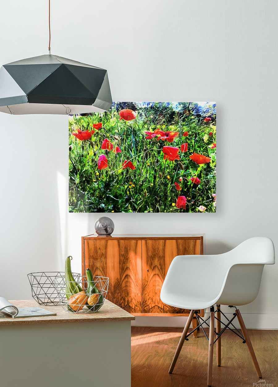 Green Pasture With Red Poppies  HD Metal print with Floating Frame on Back
