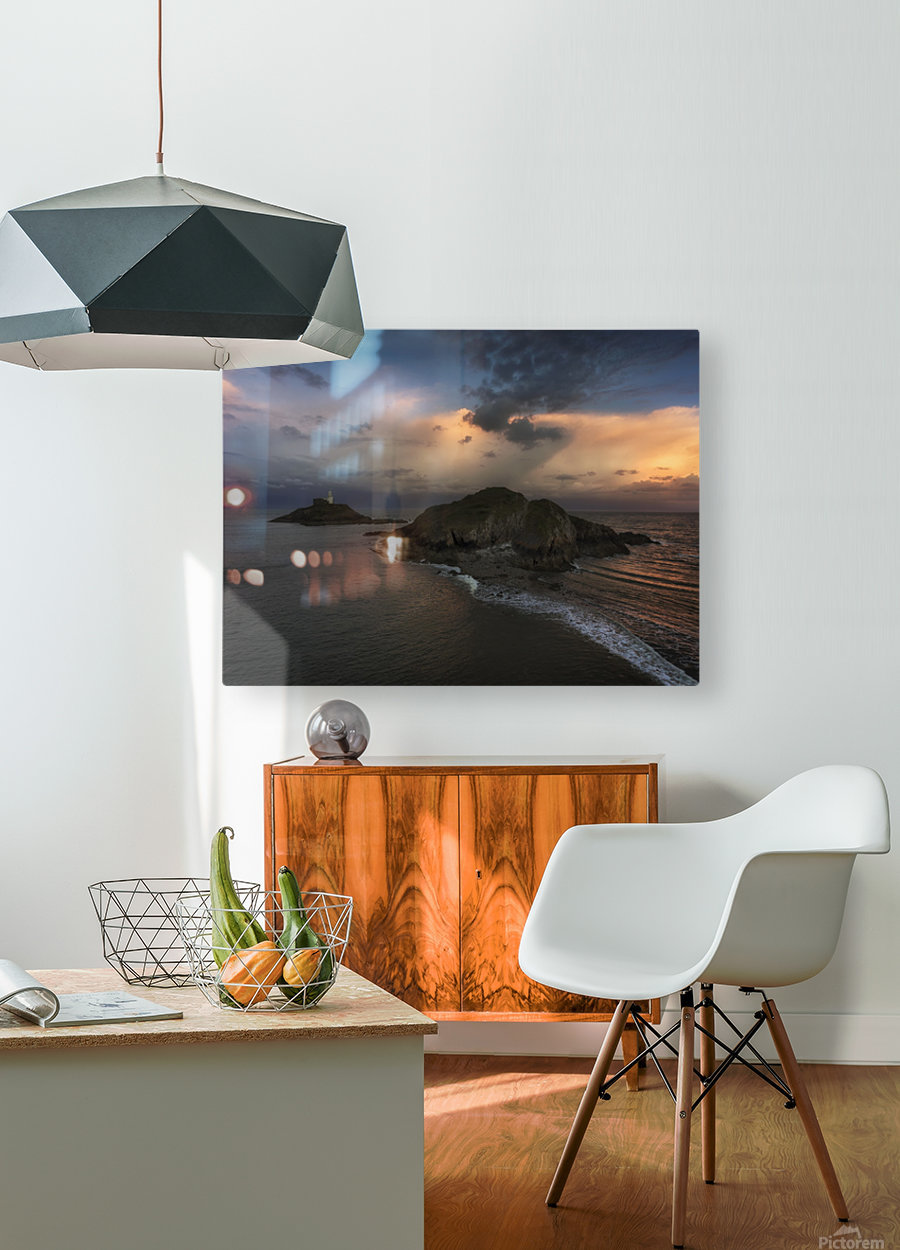 Dusk at Mumbles lighthouse  HD Metal print with Floating Frame on Back