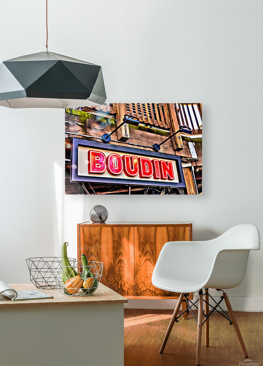 Boudin Bakery Sign  HD Metal print with Floating Frame on Back