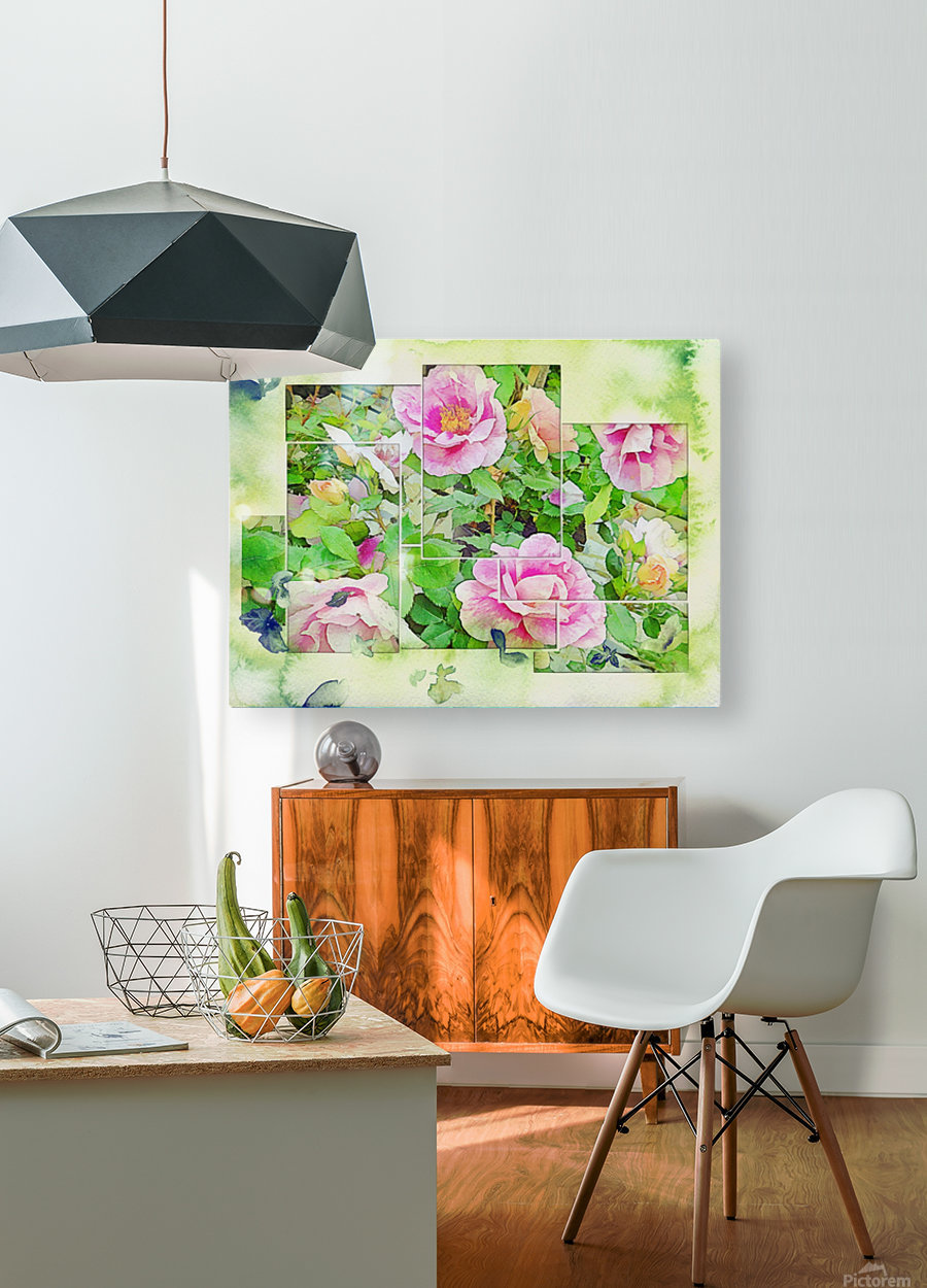 Soft Rose Fragments  HD Metal print with Floating Frame on Back