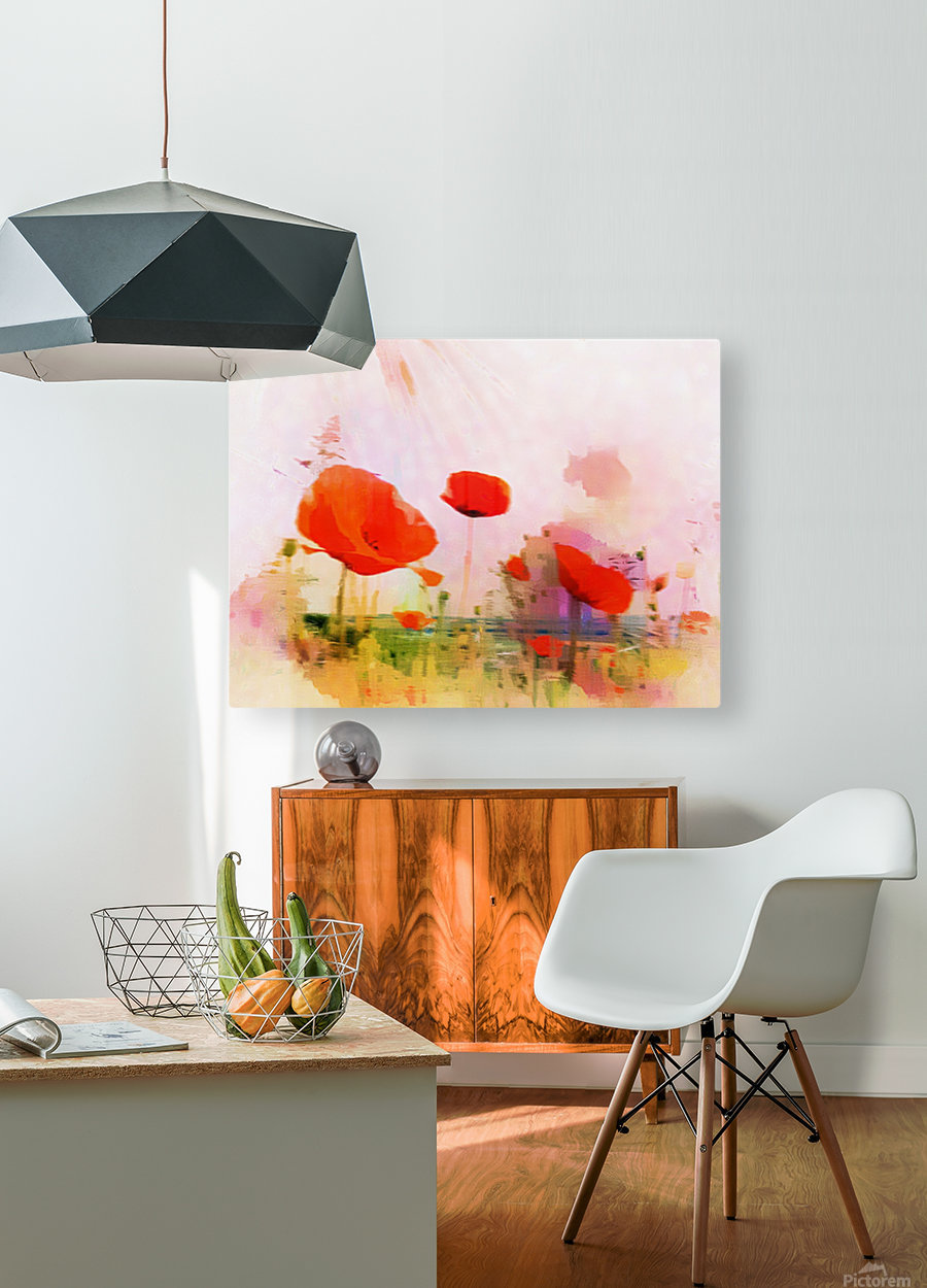 Poppies In Impression  HD Metal print with Floating Frame on Back