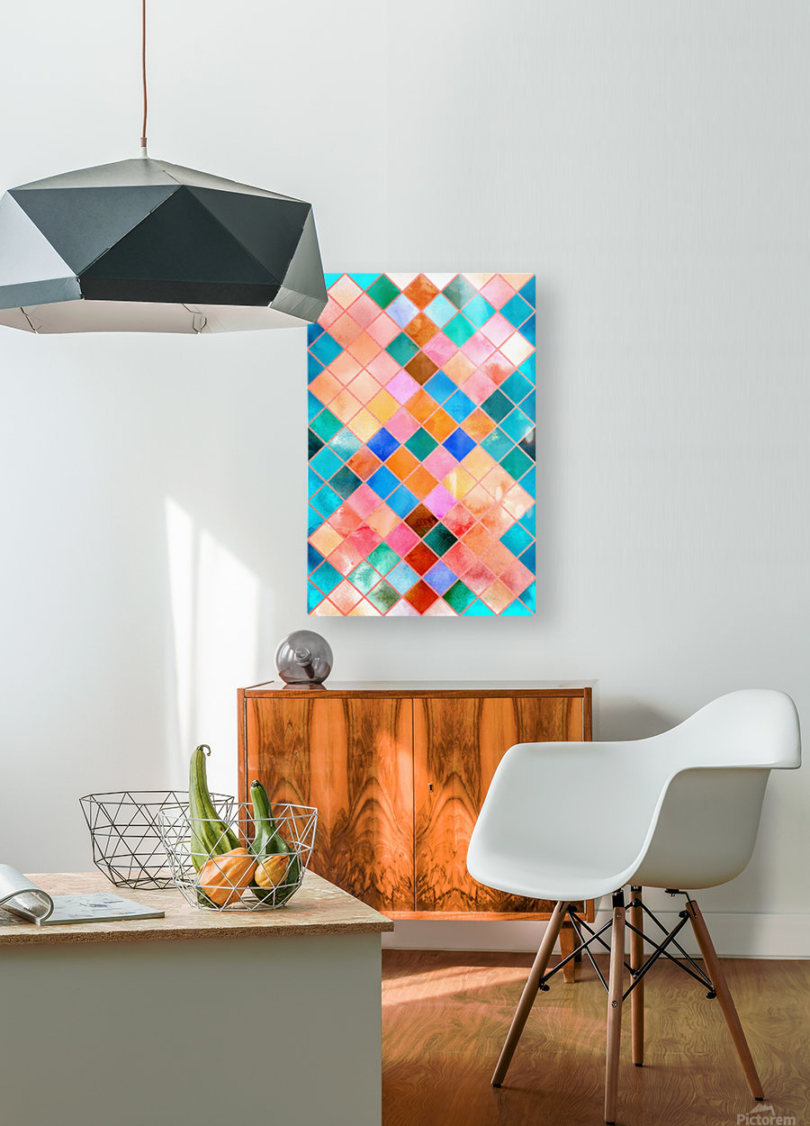 Geometric XXXX  HD Metal print with Floating Frame on Back