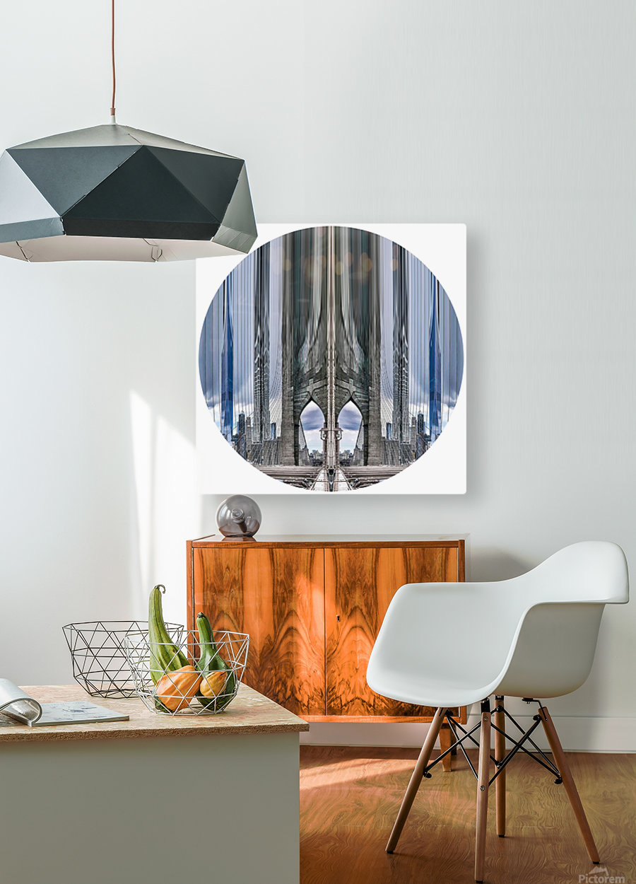 New York vue du pont de Brooklyn - rond  HD Metal print with Floating Frame on Back