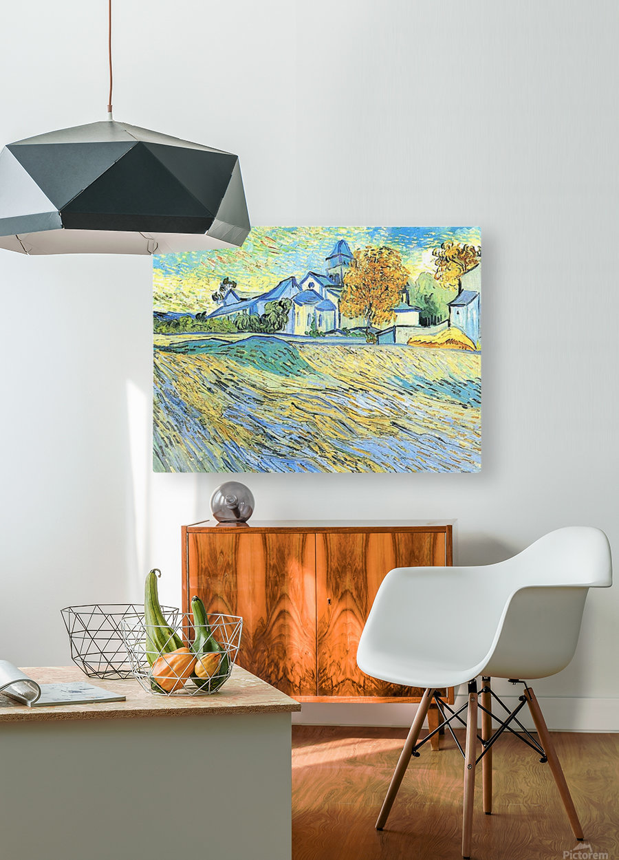 View of the church of Saint-Paul-de-Mausole by Van Gogh  HD Metal print with Floating Frame on Back