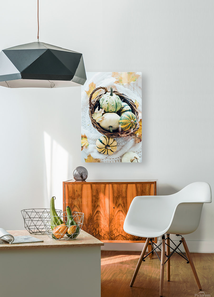 Autumn pumpkins in a basket  HD Metal print with Floating Frame on Back