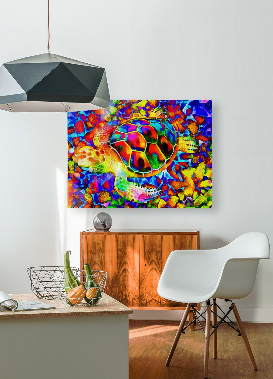 Rainbow Turtle  HD Metal print with Floating Frame on Back