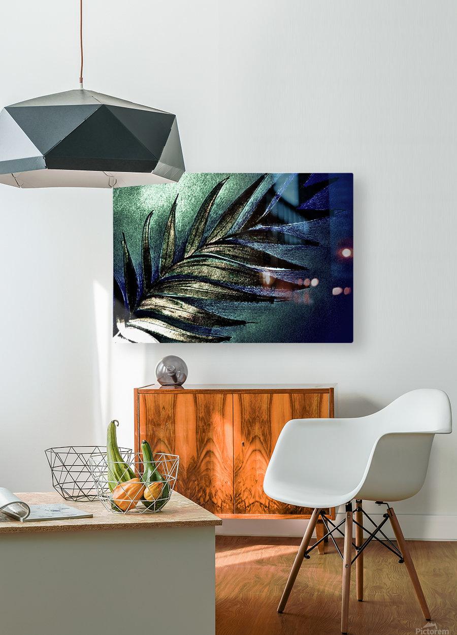 GREEN METALLIC PALM TREE LEAF TROPICAL DESIGN  HD Metal print with Floating Frame on Back